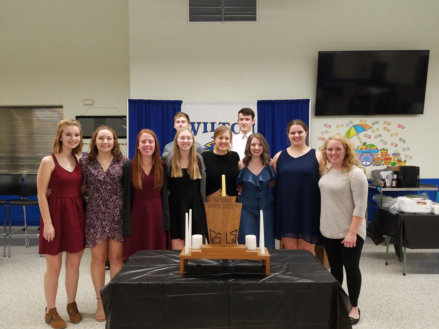 Seniors at their last  NHS induction ceremony.