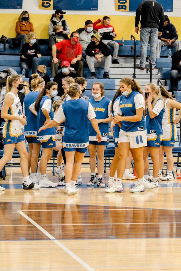 Girls basketball team before their game starts.