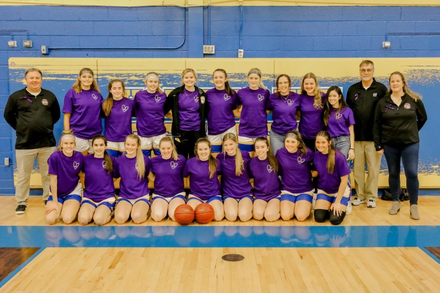 Girls basketball team wears purple in honor of Peyton Souhrada's grandma.